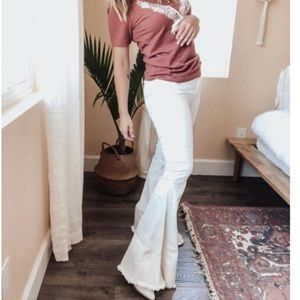 White Bell Bottom Boho Fringe Jeans